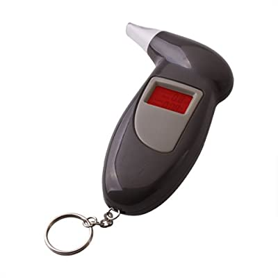 Flexzion Breathalyzer Keychain Digital Alcohol Tester Detector Breath Analyzer Audible Alert Portable with LCD Display and Replacement Mouthpiece Personal Use