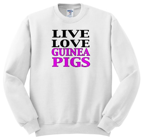 Evadane - Funny Quotes - Live Love Guinea Pigs. Pink. - Sweatshirts - Adult Sweatshirt Small front-396696