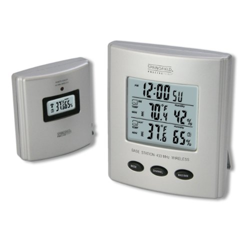 Springfield 91756 Wireless Thermometer With Indoor/Outdoor Temperature And Humidity