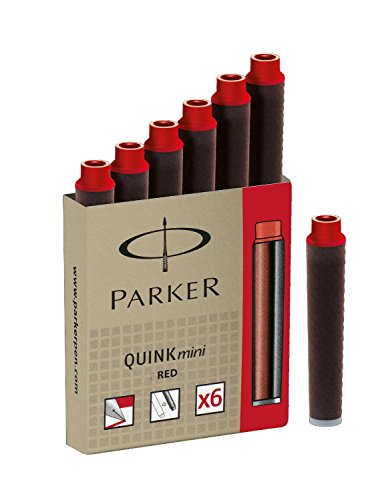 PARKER Lot de 3 Etuis de 6 Cartouches d'encre QUINK Mini permanent Rouge
