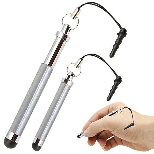 iTALKonline Samsung C3312R Rex 60 Silber Premium VERSENKBARE MINI Captive Touch Tip Stylus Pen mit Gummi Tip und 3,5 mm Headset-Buchse Dangley Adapter