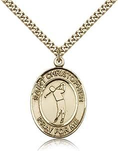 Gold Filled Men's Patron Saint Medal of ST. CHRISTOPHER/Golf