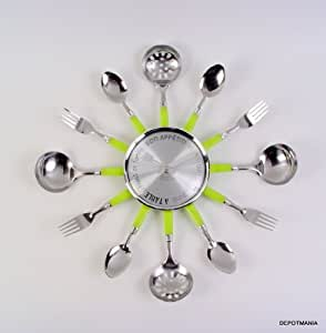 Pendule cuisine horloge murale design couvert vert anis for Pendule de cuisine amazon