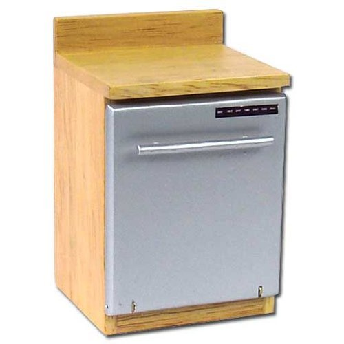 Dollhouse Miniature Oak Dishwasher With Stainless Steel Door front-331379