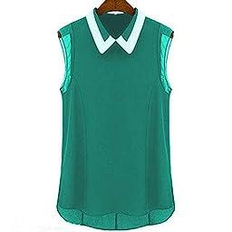 Generic Green Women Casual Summer Chiffon Fashion Loose Sleeveless Vest Shirt Tops Blouse