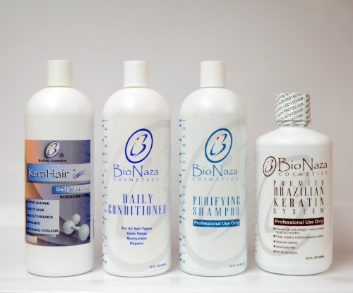Bionaza Chocohair Set 32oz(Daily shampoo+Daily conditioner+Purifying shampoo+Brazilian Keratin treatment)