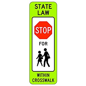MUTCD R1-6cg - in-Street School Crossing (Stop), 3M Reflective Sheeting, Highest Gauge Aluminum,Laminated, UV Protected, Made in U.S.A, Safety