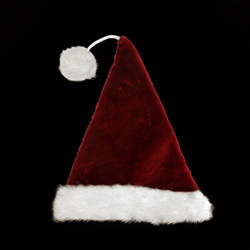 "21"" Whimsical Extra Soft Tethered Pom Pom Santa Claus Christmas Hat"