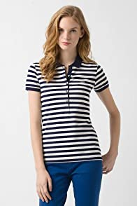 Short Sleeve 5 Button Stretch Pique Bi-Color Stripe Polo