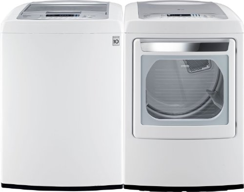 LG PAIR BUY-Front-Control Laundry Pair with WaveForce Technology (with ELECTRIC Dryer) WT1201CW DLEY1201W in Classic White