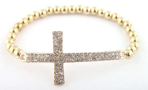 Gold Iced Out Cross Beaded Bracelet Shamballah