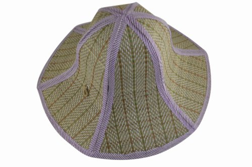Review Chinese Style Foldable Straw Sun Cap Visor Hat For Mens And Women Purple