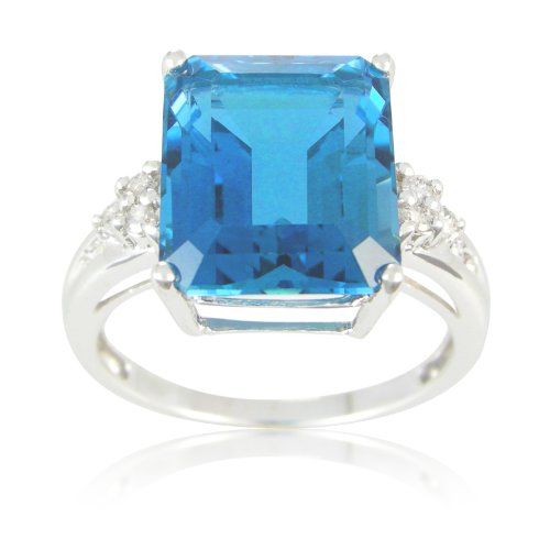 Sterling Silver Octagon London Blue Topaz and Diamond Ring, Size 6