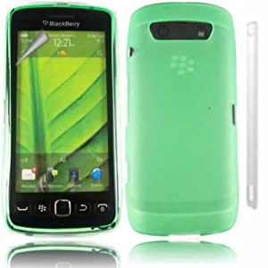 Gel Caso Coprire Pelle E LCD Protector Per Blackberry 9860 Torch / Green Design
