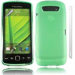 Gel Caso Coprire Pelle E LCD Protector Per Blackberry 9860 Torch / Green Design