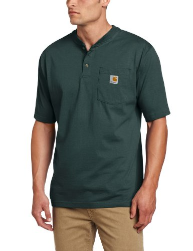 Carhartt Men's Shortsleeve Workwear Henley T-Shirt K84,   Hunter Green,  XXX-Large Regular