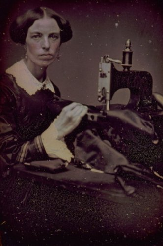 Occupational portrait of a woman working at a sewing machine (1853)