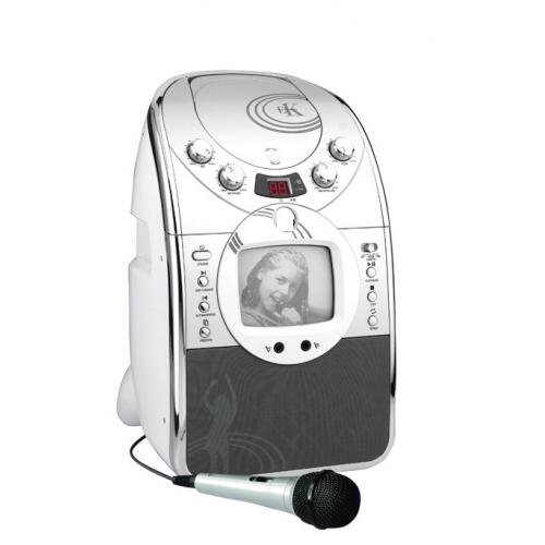 Portable Silver CD+G Karaoke Machine with Speaker Monitor Screen  &  100 Party Songs