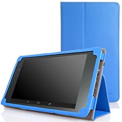 MoKo Google New Nexus 7 FHD 2nd Gen Case - Slim Folding Cover Case BLUE (with Smart Cover Auto Wake / Sleep Feature)