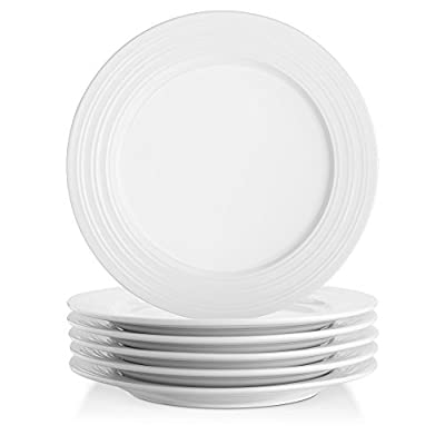 Lifver Round Plate,White Porcelain,Set of 4