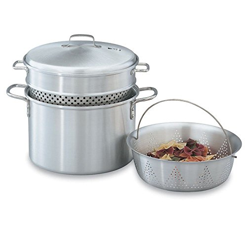Vollrath 68126 Wear-Ever Alum 8 Qt. Pasta Cooker / Vegetable Steamer