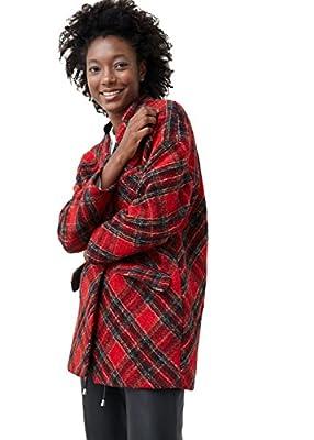MANGO - Check wool-blend coat