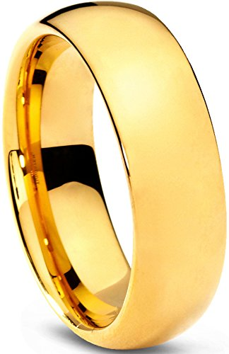 10K Yellow Gold Wedding Band Ring Comfort Polished 6 mm 6mm Comfort Fit B