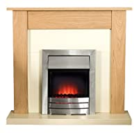 Adam Southwold Fireplace Suite in Unfinished Oak with Colorado Electric Fire, 2000 Watt from Fired Up Corporation Ltd