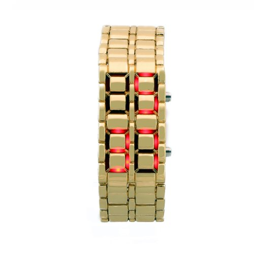 Mens Gold Metal Band Iron Lava Samurai Style Wrist Watch Faceless Japanese Inspired Red Led