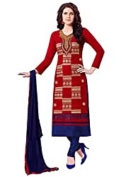 Kanchnar Women's Red and Navy Blue Glace Cotton Embroidered Party Wear Dress Material for Traditional Wedding Wear,Navratri Special Dress,Great Indian Sale,Diwali Gift to Wife,Mom,Sister,Friend