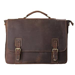 Kattee Mens Top Layer Real Cow Leather Shoulder Briefcase Attache 15 Inch Laptop Bag Tote from Kattee