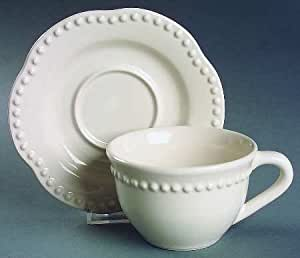 Amazon Com Pottery Barn Emma White Flat Cup Amp Saucer Set