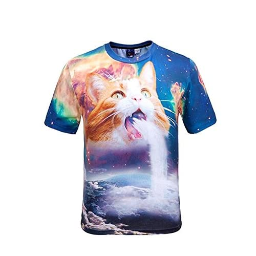 Wiboyjp メンズ 3D ネコ tシャツ 3d shirt 春 夏 ストリート スウェットtシャツ 猫柄 プリント ヒップホップ おもしろ サマー おしゃれ トレント 半袖 t-shirt サマー デザイン