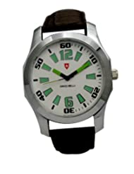 Svviss Bells Stylish White Green Dial Watch for Men