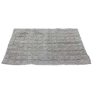 100 Cotton Square Design Bath Mat Rug 50cm X 78cm Grey Kitchen Home