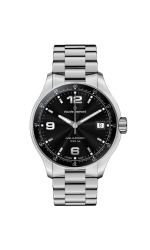 Claude Bernard Women's 70169 3 NIN Aquarider Black Dial Stainless Steel Date Watch