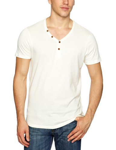Selected Homme Jeans Midwood Short Sleeve Split Neck C Men's T-Shirt Faded White X-Large