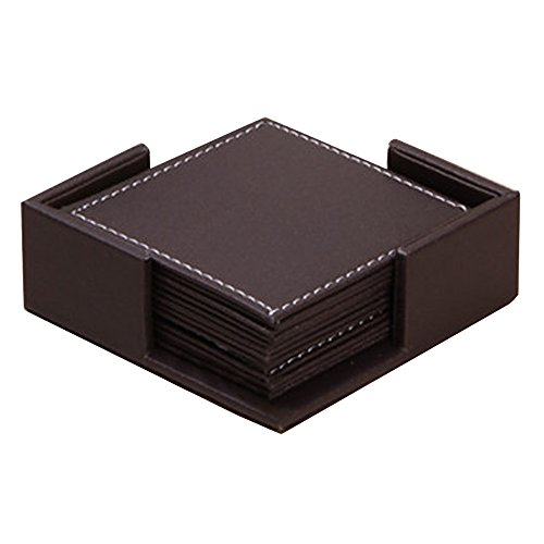 Kaimao Set of 6 Modern Waterproof PU Leather Square Coasters Table Mats with Holder for Cup Glass Tableware 4 x 4 Inch - Brown