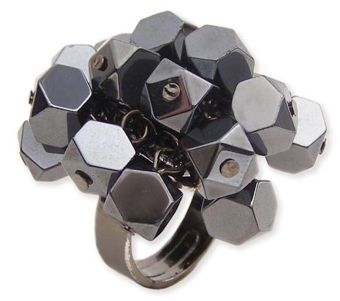 Faceted Hematite Cube Stretch Ring