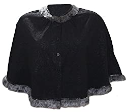Attuendo Women's Short Cape with Faux Fur Details (Small)