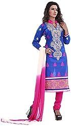 Swastik Enterprise Women's Cotton Unstitched Dress Material (Blue)
