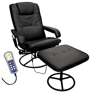 Comfort Products 60-0582 Heated Massage Recliner and Ottoman, Black