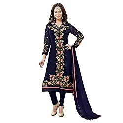Resham Fabrics Navy Blue Georgette Embroidered Salwar Suit Dupatta Material