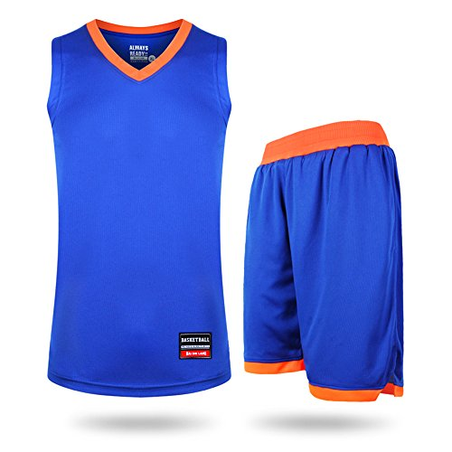 KENT HILL Men Women Basketball Jersey and Shorts Trainning Athletic Tank Top Suits Set (Blue Numbered Basketball Jersey compare prices)