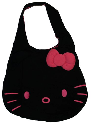 Hello Kitty Sanrio Black Fleece Hobo Bag