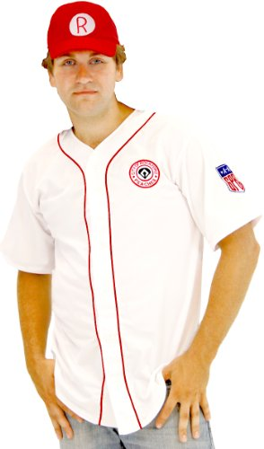 A League of Their Own Men's Rockford es AAGPBL Baseball Costume Jersey and Hat