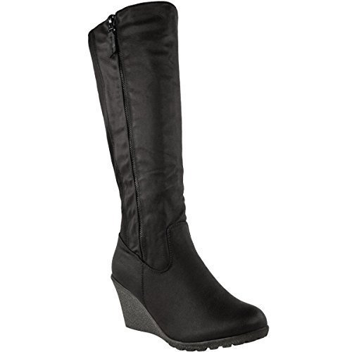 womens-ladies-wedge-heel-knee-high-mid-calf-wide-leg-elastic-winter-biker-boots