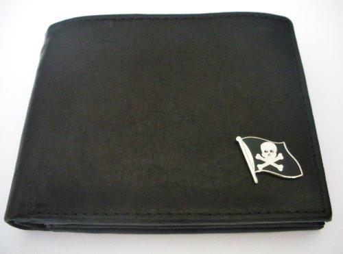 Pirate-Skull And Bones Flag Men'S Bi-Fold Italian Leather Wallet
