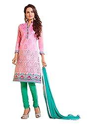 DnVeens Women's Chanderi Embroidered Dress Material