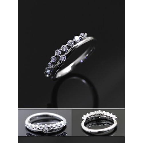 スイートテンリング ダイヤモンド CZ プラチナカラー レディース 指輪 ring プレゼント ギフト TypeC・10号